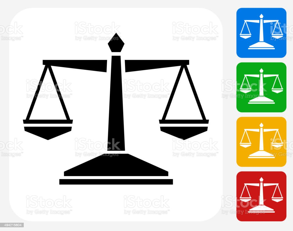 Justice Balance Icon Flat Graphic Design vector art illustration