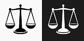 Justice Balance Icon on Black and White Vector Backgrounds