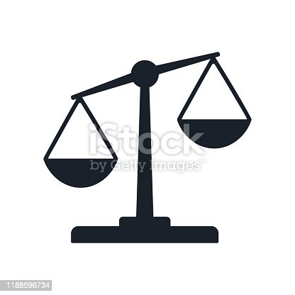 Justice balance scales icon, design isolated on gradient background isolated on white. Simply weight icon. Compare logo symbol. Scales judgment pictogram. Ui comparison element. User interface simile sign. EPS10 vector.