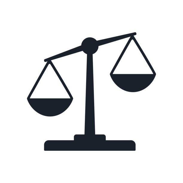 justice balance scales icon, design isolated on gradient background isolated on white - weight scale stock illustrations