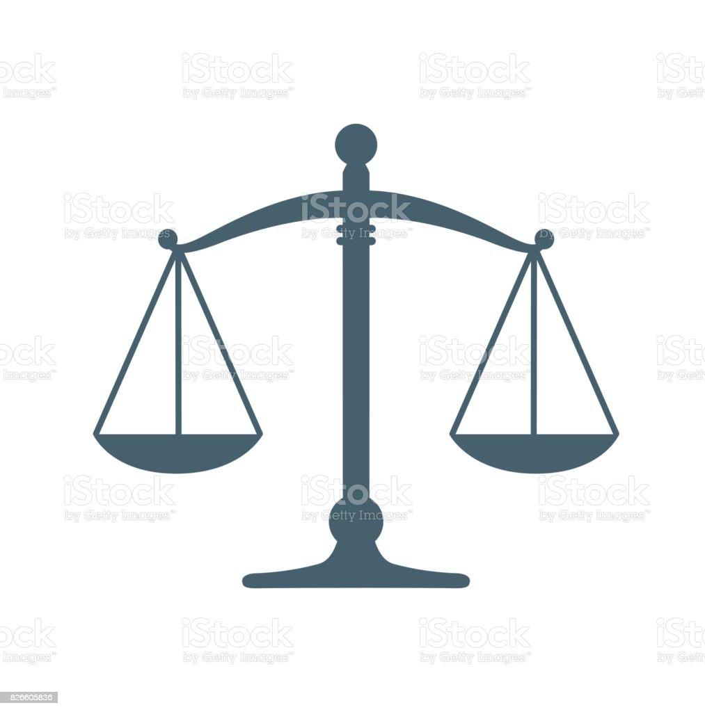 Justicia plano icono aislado sobre fondo blanco. icono de ilustración vectorial - ilustración de arte vectorial