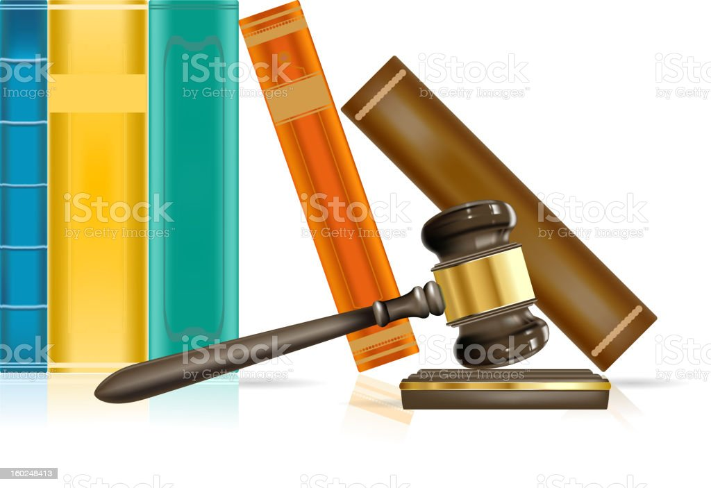 justice gavel and books eps10 royalty-free stock vector art