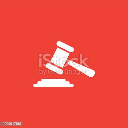 Justice Gavel Icon On Red Background. Red Flat Style Vector Illustration.