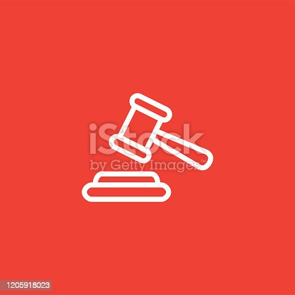 Justice Gavel Line Icon On Red Background. Red Flat Style Vector Illustration.