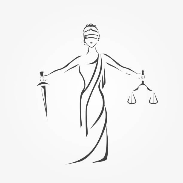 bildbanksillustrationer, clip art samt tecknat material och ikoner med rättvisa gudinnan themis, lady rättvisa femida - lawyer