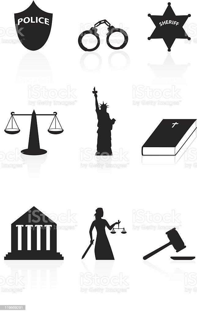 Justice icon set vector art illustration