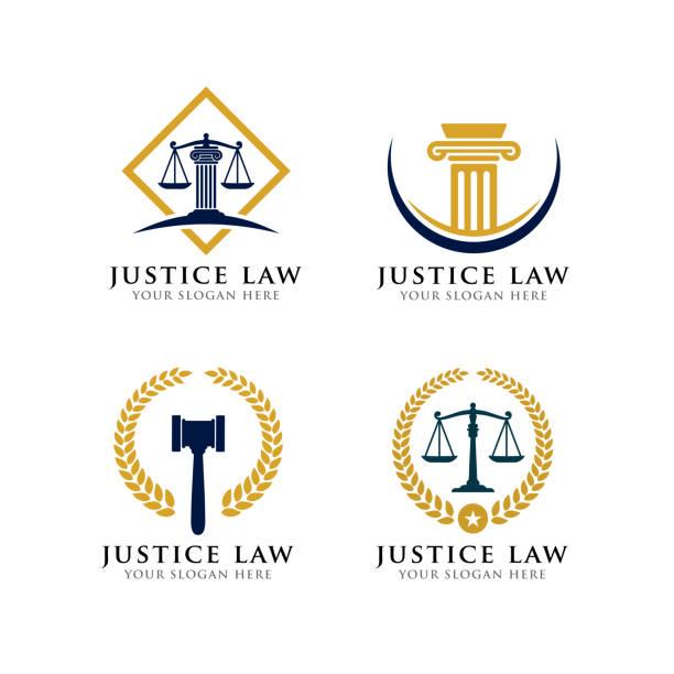 법무부 법률 아이콘 디자인입니다. 법률 사무소 아이콘 디자인입니다. 변호사 아이콘 - 정의 stock illustrations