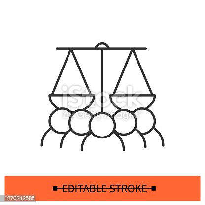 Justice protest icon. People under scales linear pictogram. Concept of civil rights movement, discrimination protest, law equality and fair public Justice system. Editable stroke vector illustration