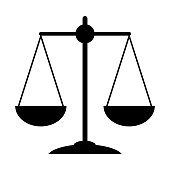 istock Justice scale icon. Court symbol on white background. 1222813998