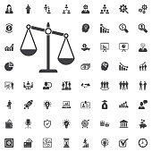 justice scale icon. vector illustration on white background. Business set of icons
