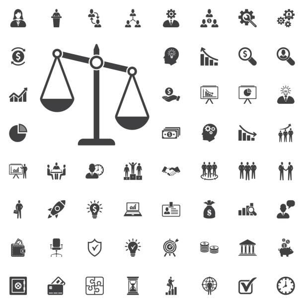 justiz-skala-symbol - geldstrafe stock-grafiken, -clipart, -cartoons und -symbole