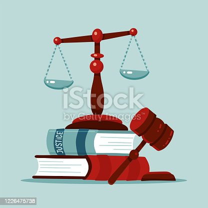istock Justice scales and wooden judge gavel concept. Law hammer sign with books of laws. Legal law and auction symbol. Classic court Libra. Flat Vector illustration. 1226475738