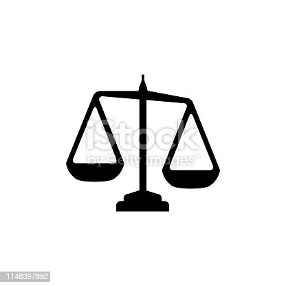 Justice Scales Icon In Flat Style Vector For App, UI, Websites. Black Icon Vector Illustration.