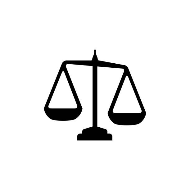 justice scales icon in flat style vector for app, ui, websites. black icon vector illustration. - balance stock-grafiken, -clipart, -cartoons und -symbole