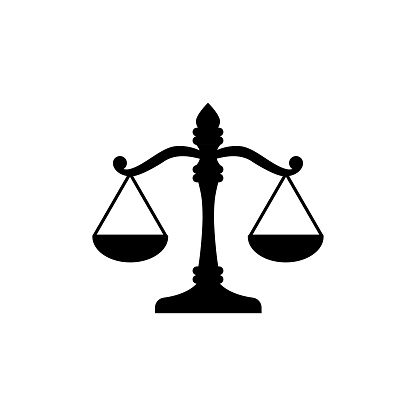 Justice scales icon. Judgment scale sign. Legal law symbol