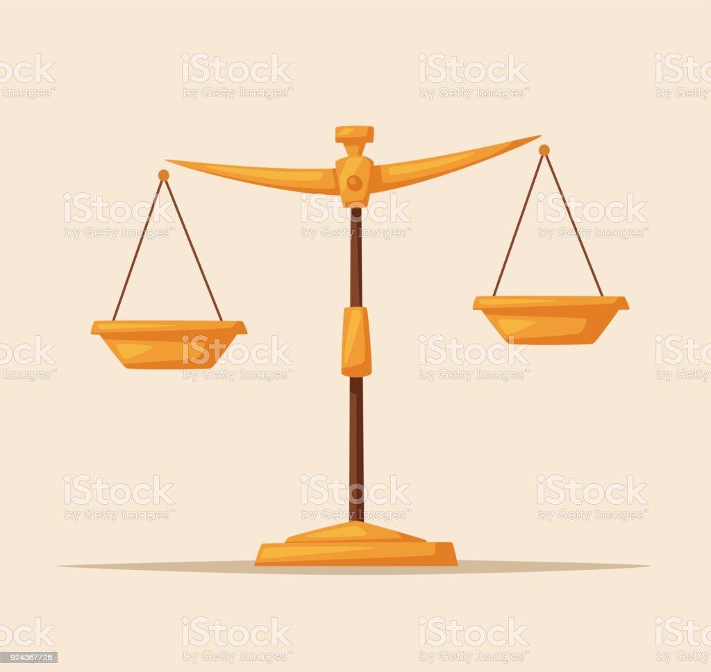 Justice Scales Icon Law Balance Symbol Cartoon Vector Illustration
