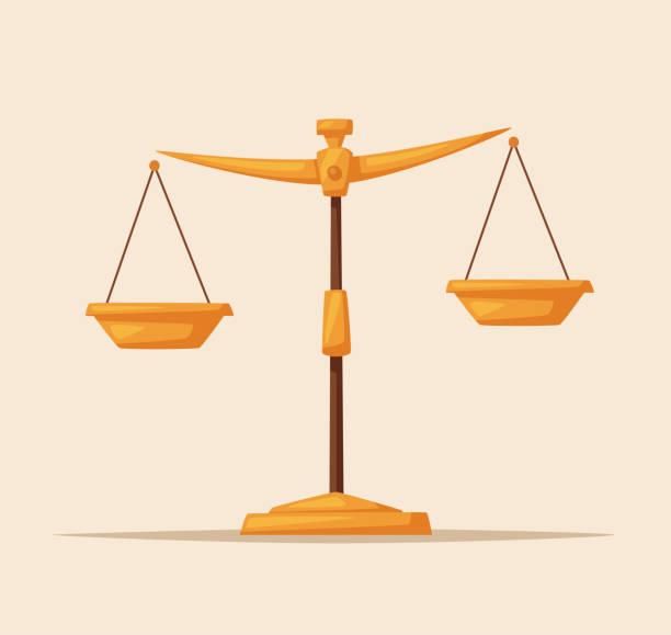 justiz skaliert symbol. gesetz-gleichgewicht-symbol. cartoon-vektor-illustration. - geldstrafe stock-grafiken, -clipart, -cartoons und -symbole
