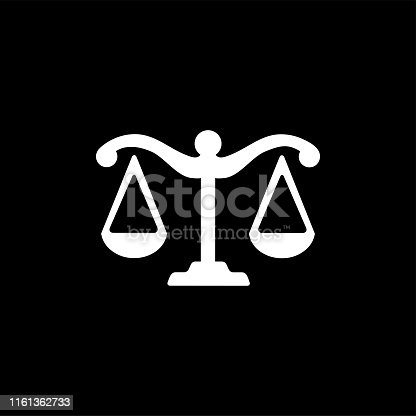 Justice Scales Icon On Black Background. Black Flat Style Vector Illustration.