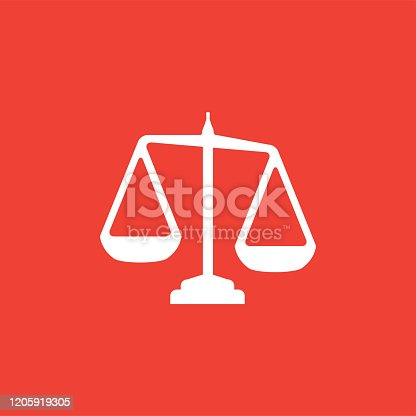 Justice Scales Icon On Red Background. Red Flat Style Vector Illustration.