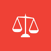istock Justice Scales Icon On Red Background. Red Flat Style Vector Illustration 1205919305
