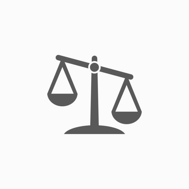 justice scales icon - weight scale stock illustrations