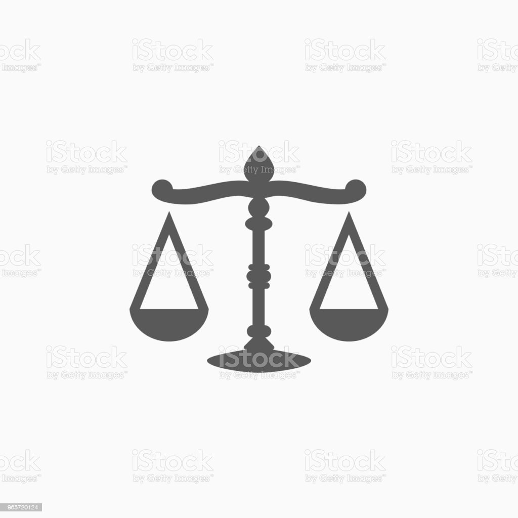 justice scales icon - Royalty-free Analyzing stock vector