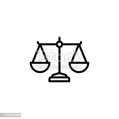 Justice Scales Line Icon In Flat Style Vector For App, UI, Websites. Black Icon Vector Illustration