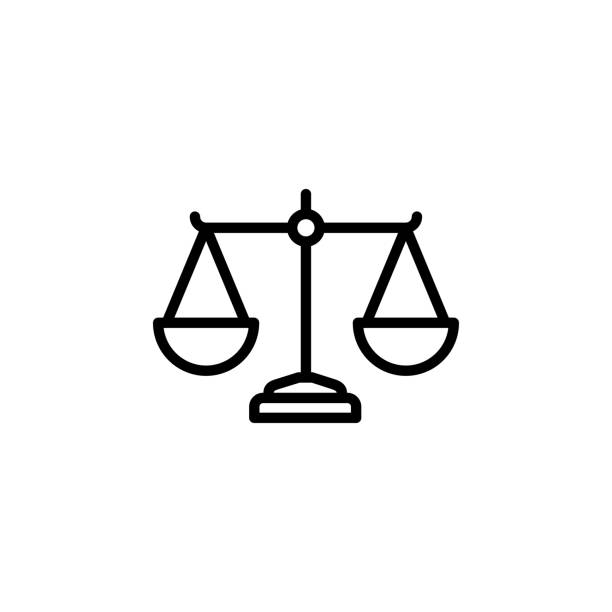 Justice Scales Line Icon In Flat Style Vector For App, UI, Websites. Black Icon Vector Illustration Justice Scales Line Icon In Flat Style Vector For App, UI, Websites. Black Icon Vector Illustration balance stock illustrations