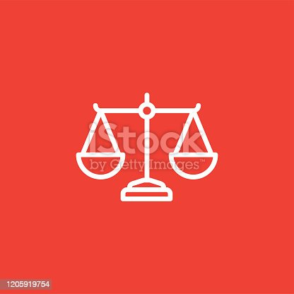 Justice Scales Line Icon On Red Background. Red Flat Style Vector Illustration.