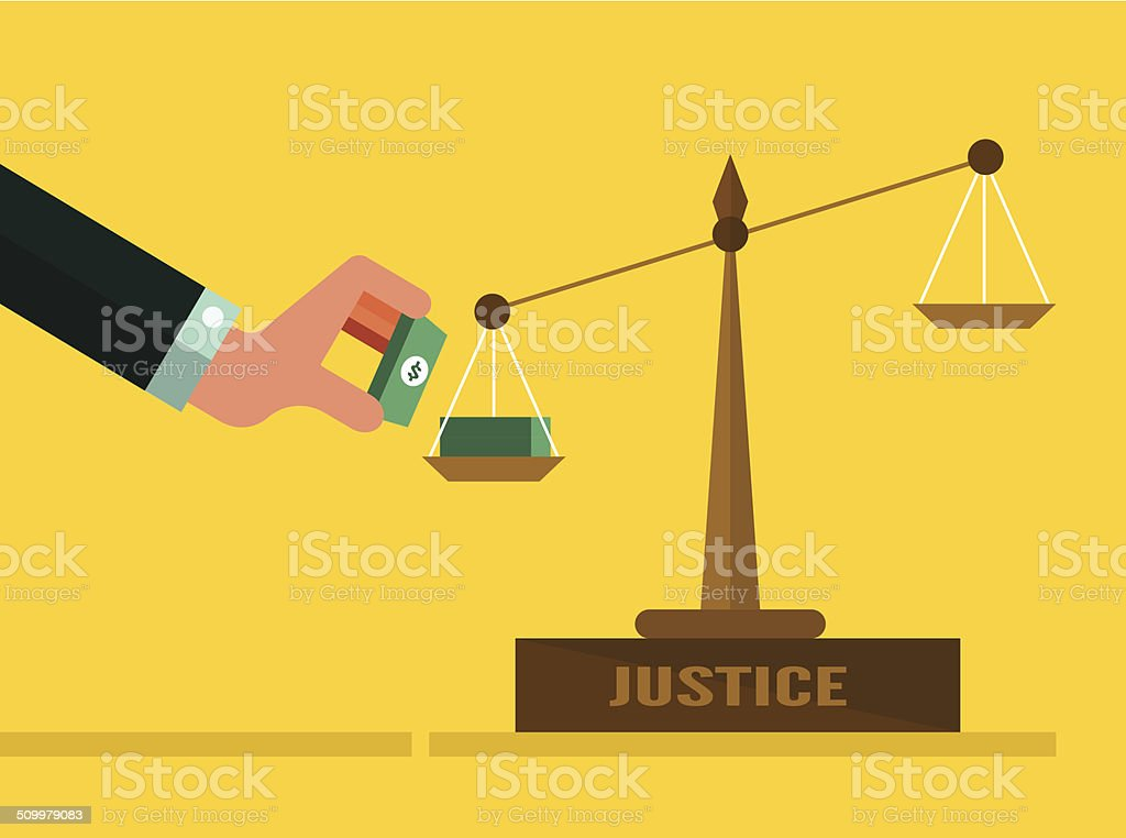 Justice scales with Money. vector art illustration