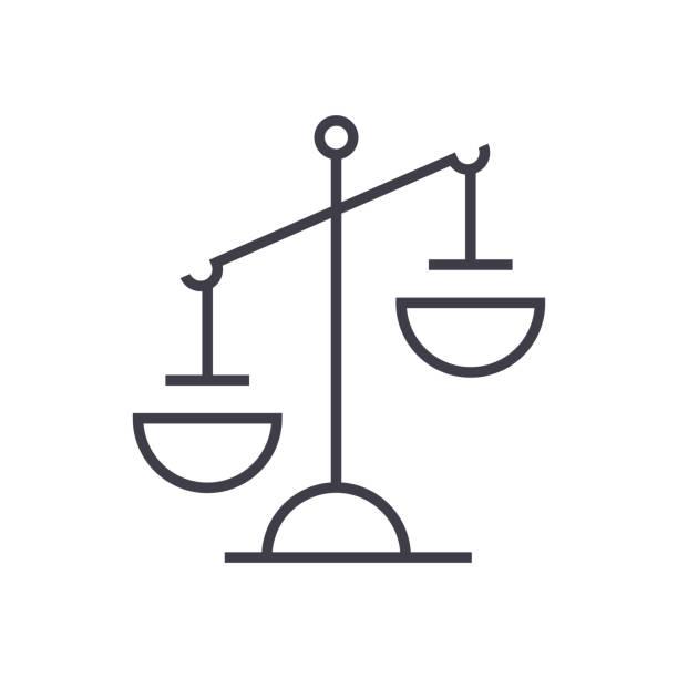 zeichen der gerechtigkeit vektor-liniensymbol, zeichen, illustration auf hintergrund, editierbare striche - geldstrafe stock-grafiken, -clipart, -cartoons und -symbole
