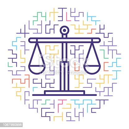 Line vector icon illustration of justice system with maze background.