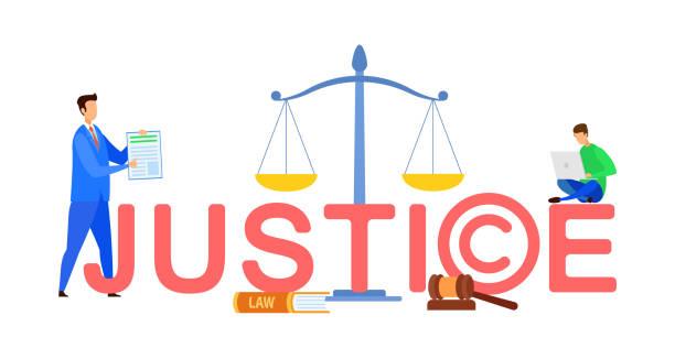 justiz web banner cartoon-vorlage mit text - rechtsassistent stock-grafiken, -clipart, -cartoons und -symbole