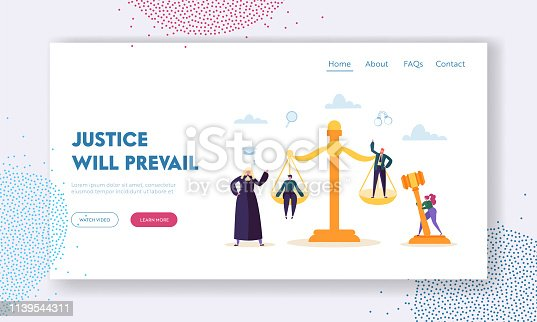 Justice will Prevail Landing Page. Judge Hears Witness and Evidence Presented by Barrister of Case, Assess Credibility and Argument Website or Web Page. Flat Cartoon Vector Illustration
