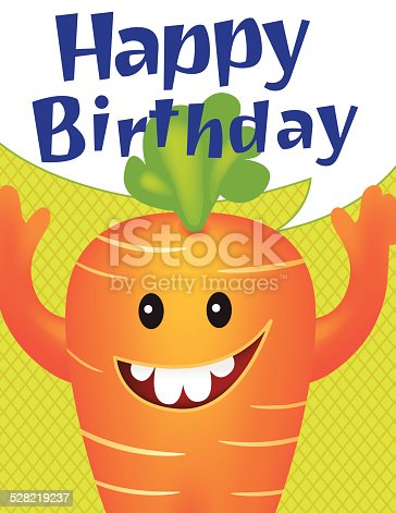 Juvenile Birthday Card vertical Template With Cute orange and green cartoon carrot looking Monster with a speech bubble above with blue text happy birthday greeting.  The monster and speech bubble are on a green diamond patterned background.