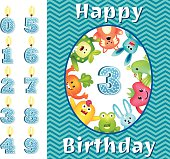 Juvenile Birthday Card Template With Cute Monsters And Candles