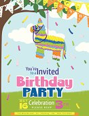 Juvenile Piñata Birthday Party vertical Invitation Template on blue sky with white cloud background.  There is a multicoloured striped piñata horse hanging from a tree branch with pennant flags draped at the top with the birthday party invitational text under the piñata. There are scattered streamers pieces falling around the text.