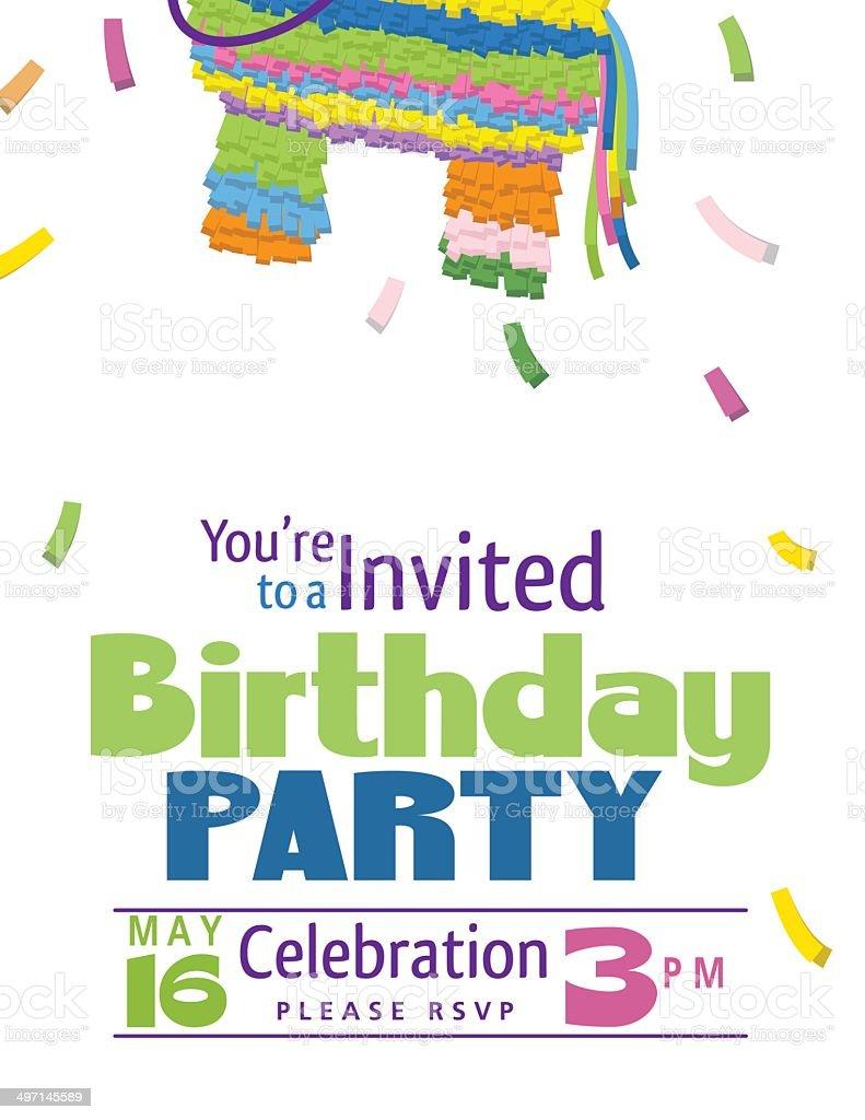 Juvenile Piñata Birthday Party Invitation Template Stock Vector Art ...