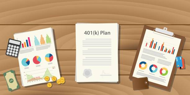 401 k plan illustration concept with paperwork with graph and chart and money calculator on top of the table 401 k plan illustration concept with paperwork with graph and chart and money calculator on top of the table vector 40 kilometre stock illustrations