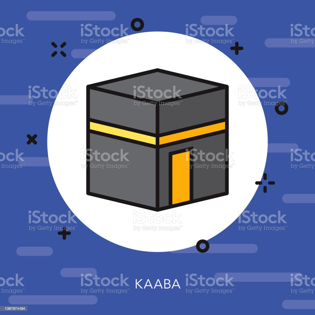 Kaaba Thin Line Ramadan Icon vector art illustration