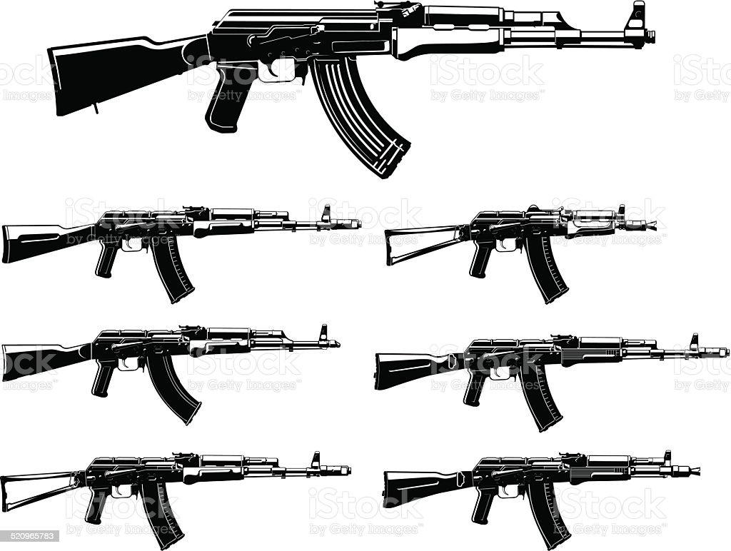 Kalashnikov assault rifle silhouettes set vector art illustration