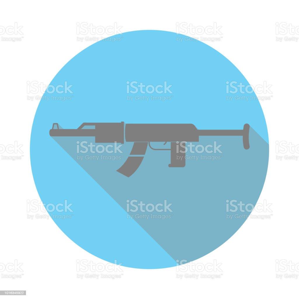 カラシニコフ機関銃ブラック シルエット フラット アイコン。軍隊の記号。ノート、カレンダー、web 標識アイコン。アプリのアイコンや web サイトのアイコンをダウンロードします。 ベクターアートイラスト