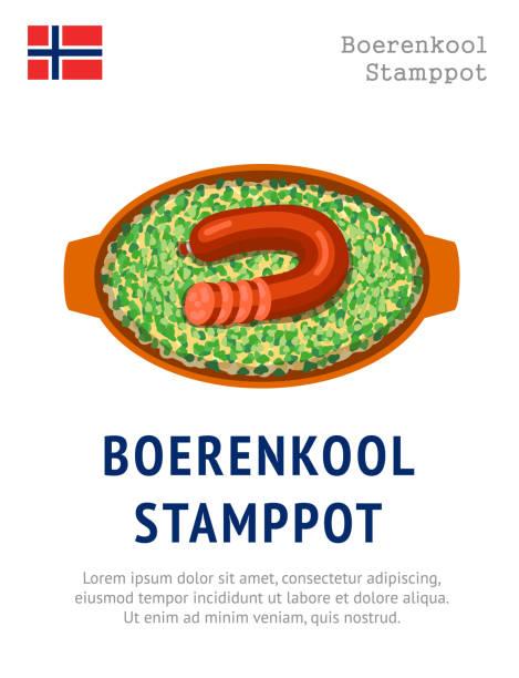 stockillustraties, clipart, cartoons en iconen met boerenkool stamppot. traditional norwegian dish. - stamppot