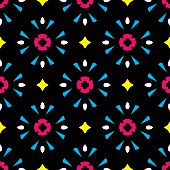 Vector illustration of blue and pink kaleidoscope inspired shapes against a black background in a repeating pattern.