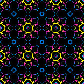 Vector illustration of kaleidoscope inspired shapes in a repeating pattern.