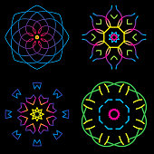 Vector illustration of a set of multi-colored kaleidoscope inspired shapes.