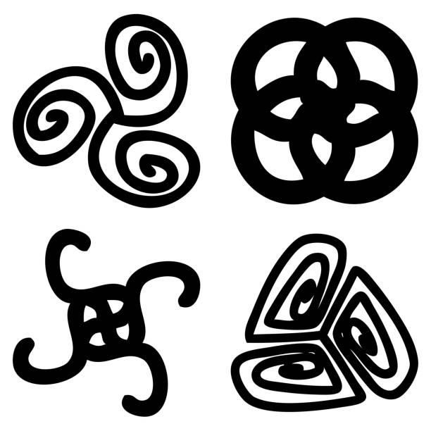 Royalty Free Background Of Ancient Hindu Symbols Clip Art Vector