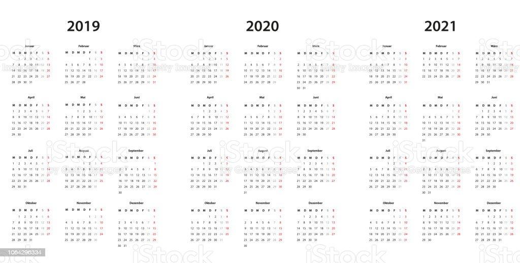 kalender 2019 2020 2021 kalender einfache vorlage deutsch stock illustration download image. Black Bedroom Furniture Sets. Home Design Ideas