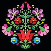 Kalocsai embroidery - Hungarian floral folk pattern on black