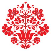 Kalocsai red embroidery - Hungarian floral folk pattern with birds